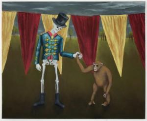 """Unterhaltung (Skelett&Affe)"", 65 x 80 cm, Öl auf Leinwand, 2017"