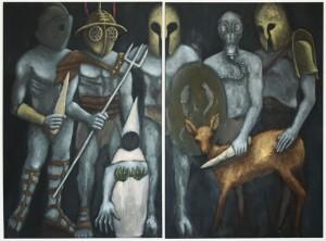 """""""Gladiatoren"""" zweiteilig, 2 x 150 x 110 cm, Öl auf Leinwand, 2015"""