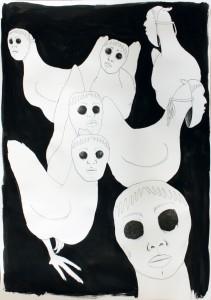 """""""Hühner mit Masken"""", 70 x 50 cm, Tusche, Fineliner, Filzstift auf Papier, 2016"""