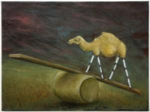 """""""Traum (Kamel mit Stativbeinen)"""", 30 x 40 cm, Öl auf Leinwand, 2018"""