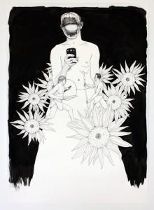 """""""Selfie"""", 70 x 50 cm, Tusche, Fineliner, Filzstift auf Papier, 2016"""