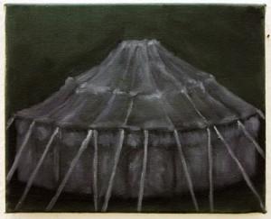 """""""Zirkuszelt"""", 24 x 30 cm, Öl auf Leinwand, 2015"""